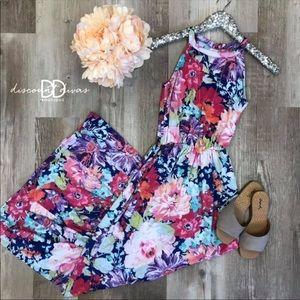 Bright floral halter maxi dress